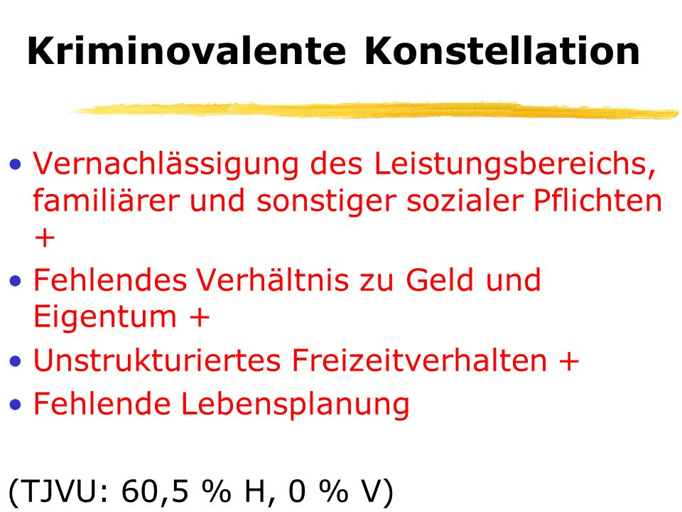 Kriminoresistente Konstellation Erfüllung der sozialen Pflichten + Adäquates Anspruchsniveau + Gebundenheit an Häuslichkeit und Familienleben + Reales Verhältnis zu Geld und Eigentum (TJVU: 3 % H, 79,5 % V)