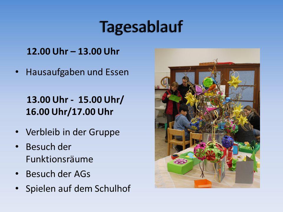 Tagesablauf 12.00 Uhr – 13.00 Uhr Hausaufgaben und Essen 13.00 Uhr - 15.00 Uhr/ 16.00 Uhr/17.00 Uhr Verbleib in der Gruppe Besuch der Funktionsräume B