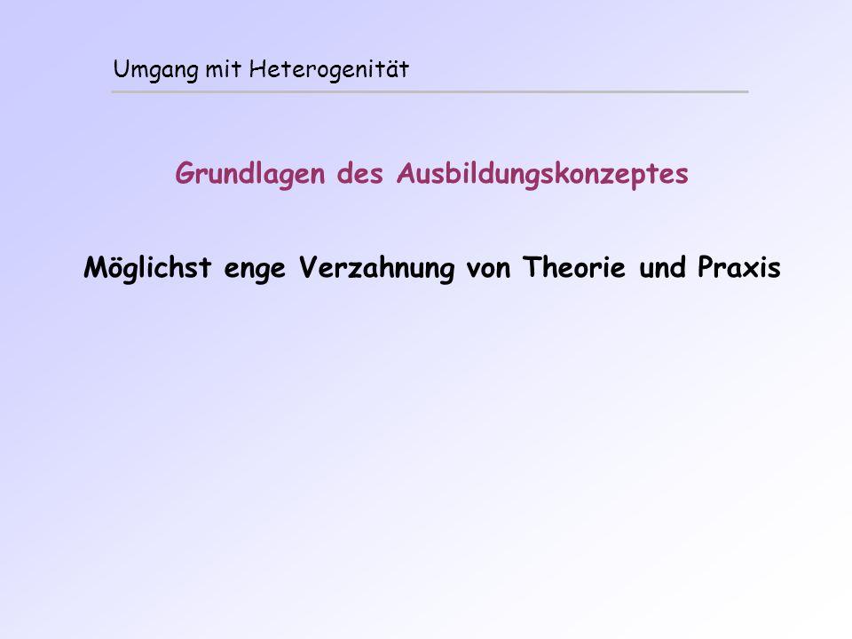 Umgang mit Heterogenität Grundlagen des Ausbildungskonzeptes Möglichst enge Verzahnung von Theorie und Praxis