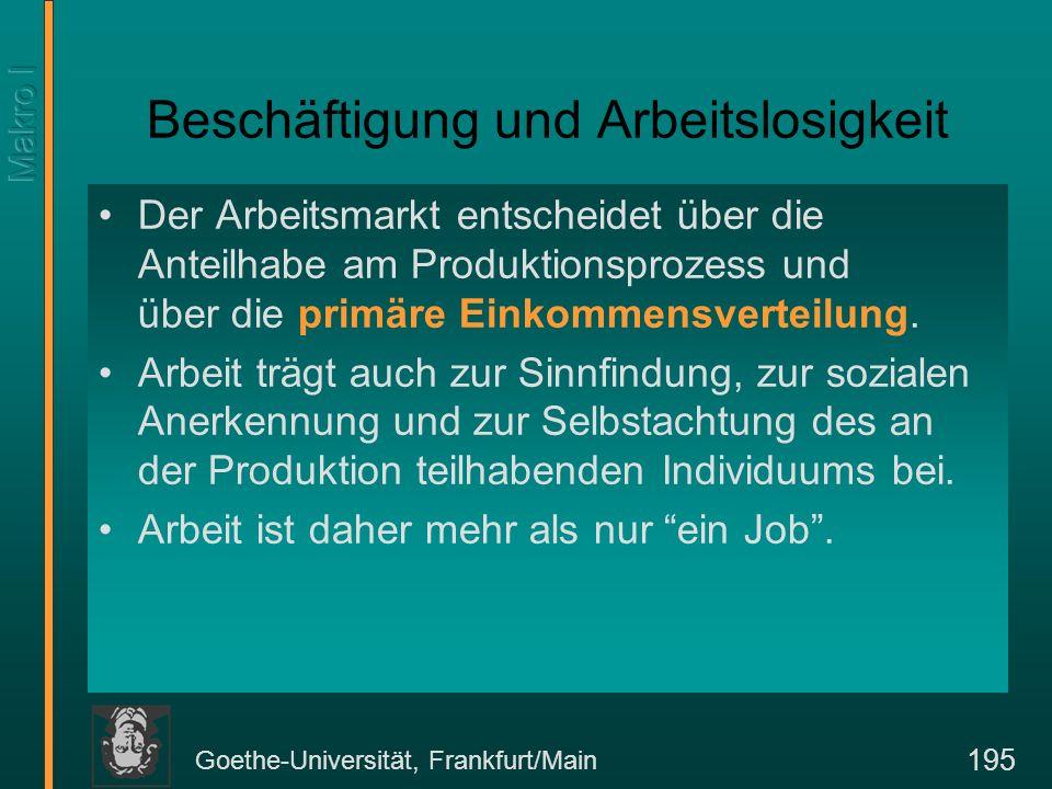 Goethe-Universität, Frankfurt/Main 195 Beschäftigung und Arbeitslosigkeit Der Arbeitsmarkt entscheidet über die Anteilhabe am Produktionsprozess und ü