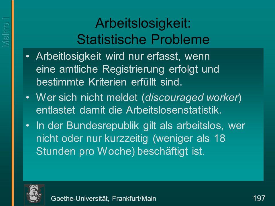 Goethe-Universität, Frankfurt/Main 197 Arbeitslosigkeit: Statistische Probleme Arbeitlosigkeit wird nur erfasst, wenn eine amtliche Registrierung erfo