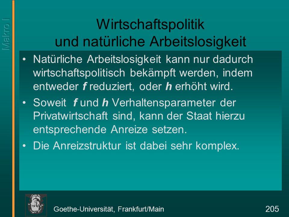 Goethe-Universität, Frankfurt/Main 205 Wirtschaftspolitik und natürliche Arbeitslosigkeit Natürliche Arbeitslosigkeit kann nur dadurch wirtschaftspoli