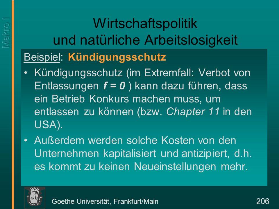 Goethe-Universität, Frankfurt/Main 206 Wirtschaftspolitik und natürliche Arbeitslosigkeit Beispiel: Kündigungsschutz Kündigungsschutz (im Extremfall: