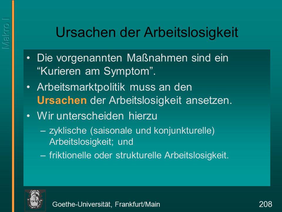 Goethe-Universität, Frankfurt/Main 208 Ursachen der Arbeitslosigkeit Die vorgenannten Maßnahmen sind ein Kurieren am Symptom. Arbeitsmarktpolitik muss