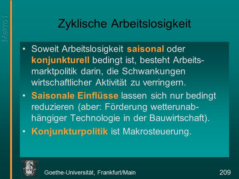 Goethe-Universität, Frankfurt/Main 209 Zyklische Arbeitslosigkeit Soweit Arbeitslosigkeit saisonal oder konjunkturell bedingt ist, besteht Arbeits- ma