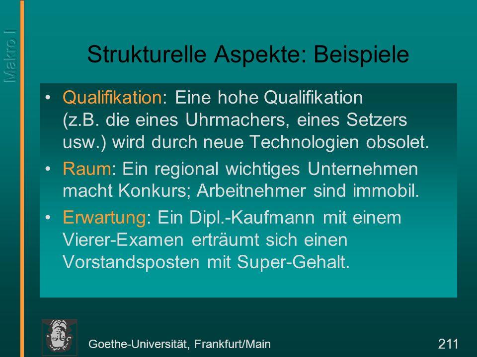 Goethe-Universität, Frankfurt/Main 211 Strukturelle Aspekte: Beispiele Qualifikation: Eine hohe Qualifikation (z.B. die eines Uhrmachers, eines Setzer