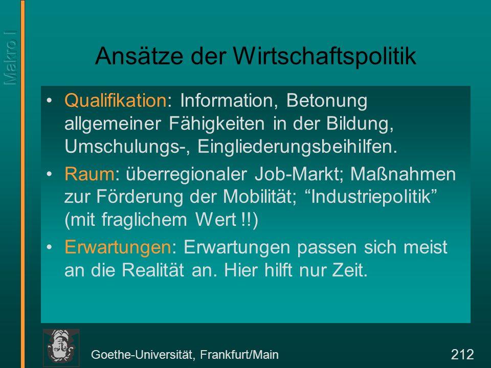 Goethe-Universität, Frankfurt/Main 212 Ansätze der Wirtschaftspolitik Qualifikation: Information, Betonung allgemeiner Fähigkeiten in der Bildung, Ums