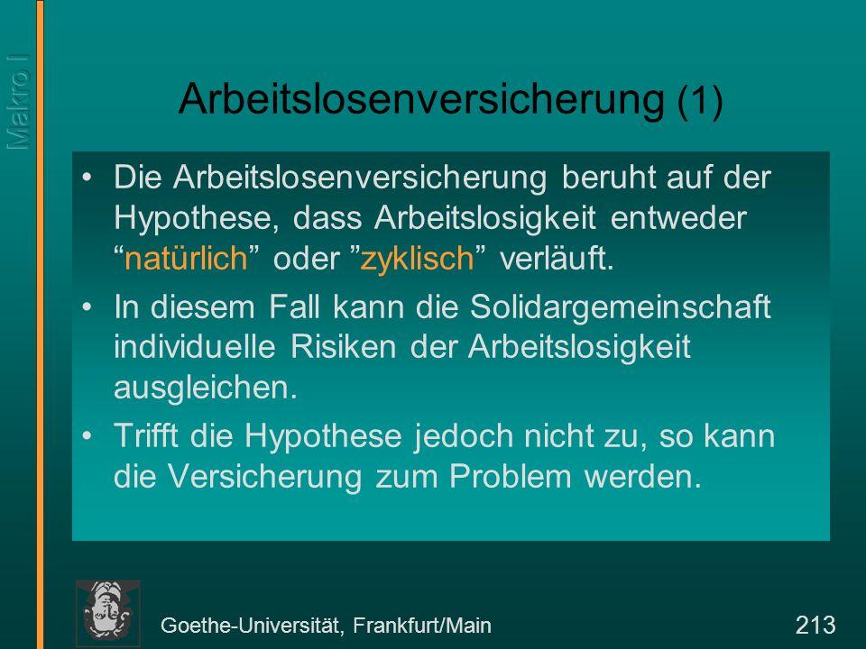 Goethe-Universität, Frankfurt/Main 213 Arbeitslosenversicherung (1) Die Arbeitslosenversicherung beruht auf der Hypothese, dass Arbeitslosigkeit entwe