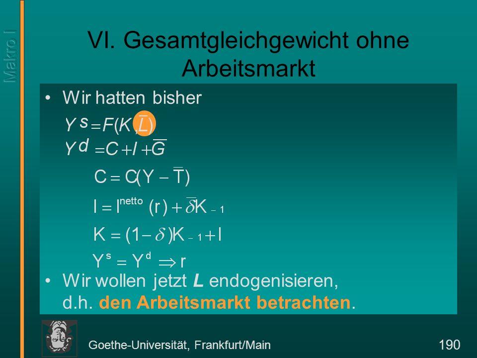 Goethe-Universität, Frankfurt/Main 190 Wir hatten bisher Wir wollen jetzt L endogenisieren, d.h. den Arbeitsmarkt betrachten. VI. Gesamtgleichgewicht