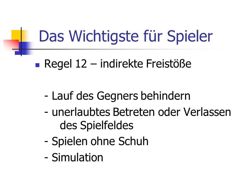Regel 12 – indirekte Freistöße - Lauf des Gegners behindern - unerlaubtes Betreten oder Verlassen des Spielfeldes - Spielen ohne Schuh - Simulation Da