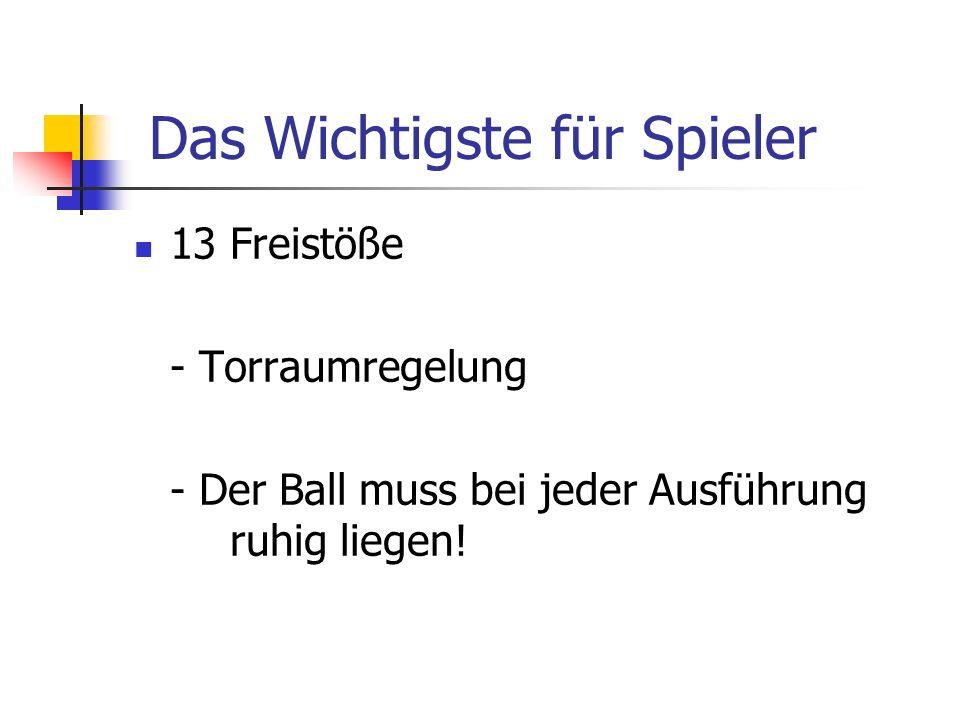13 Freistöße - Torraumregelung - Der Ball muss bei jeder Ausführung ruhig liegen! Das Wichtigste für Spieler