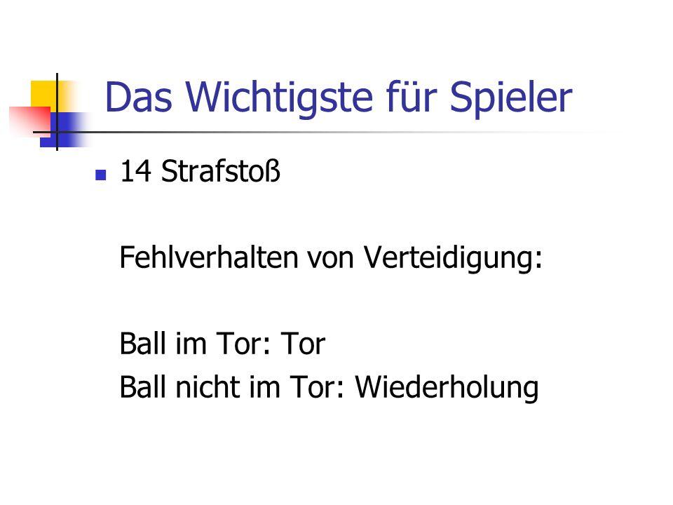 14 Strafstoß Fehlverhalten von Verteidigung: Ball im Tor: Tor Ball nicht im Tor: Wiederholung Das Wichtigste für Spieler