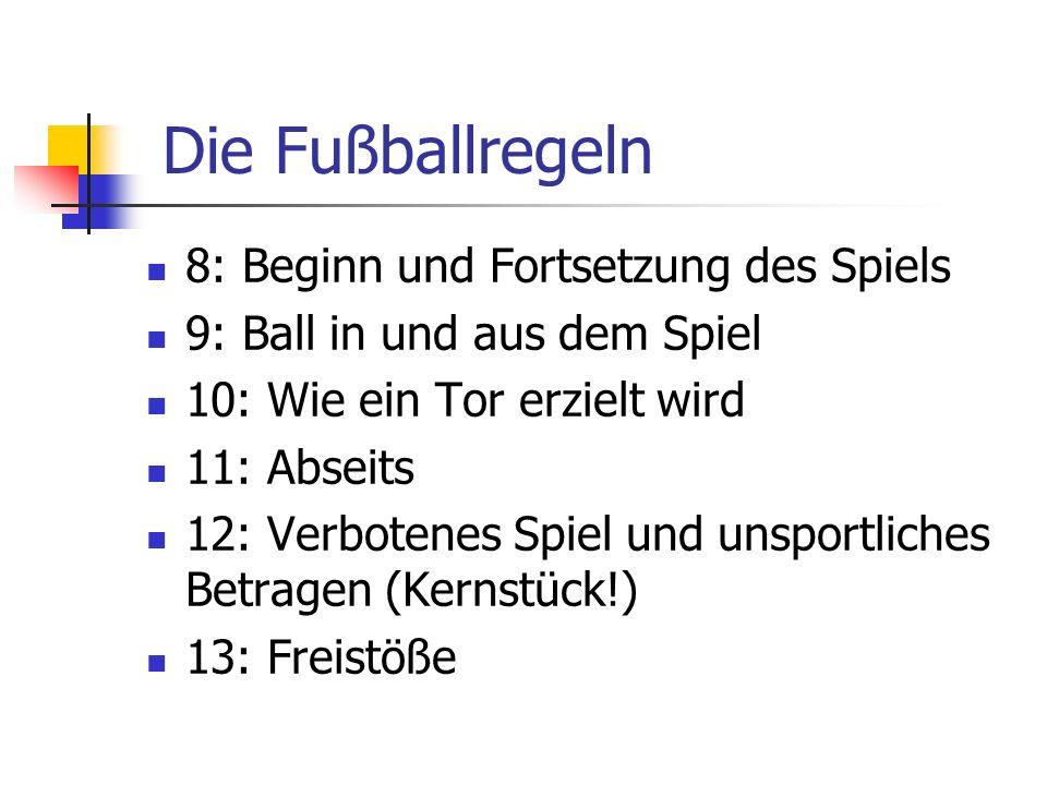 8: Beginn und Fortsetzung des Spiels 9: Ball in und aus dem Spiel 10: Wie ein Tor erzielt wird 11: Abseits 12: Verbotenes Spiel und unsportliches Betr
