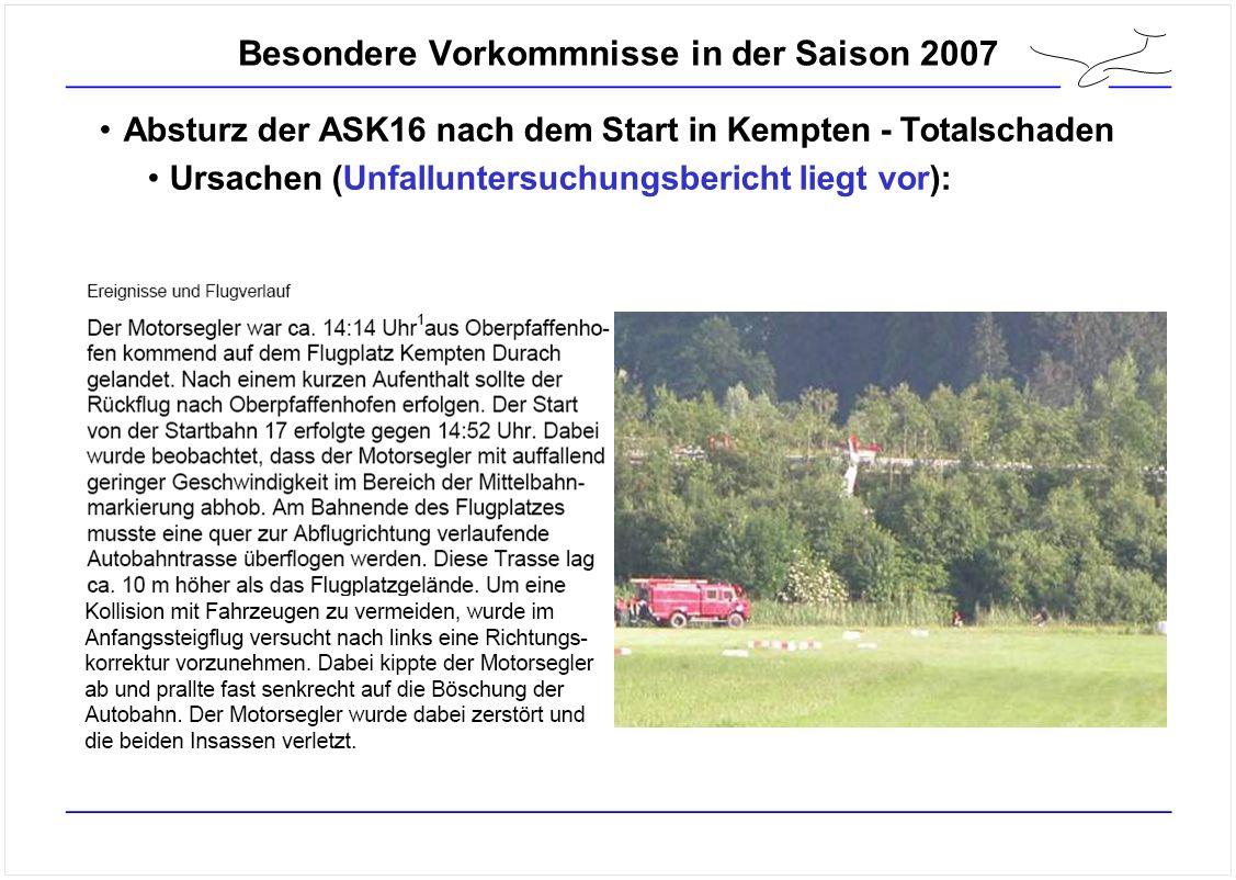 Besondere Vorkommnisse in der Saison 2007 Absturz der ASK16 nach dem Start in Kempten - Totalschaden Ursachen (Unfalluntersuchungsbericht liegt vor):