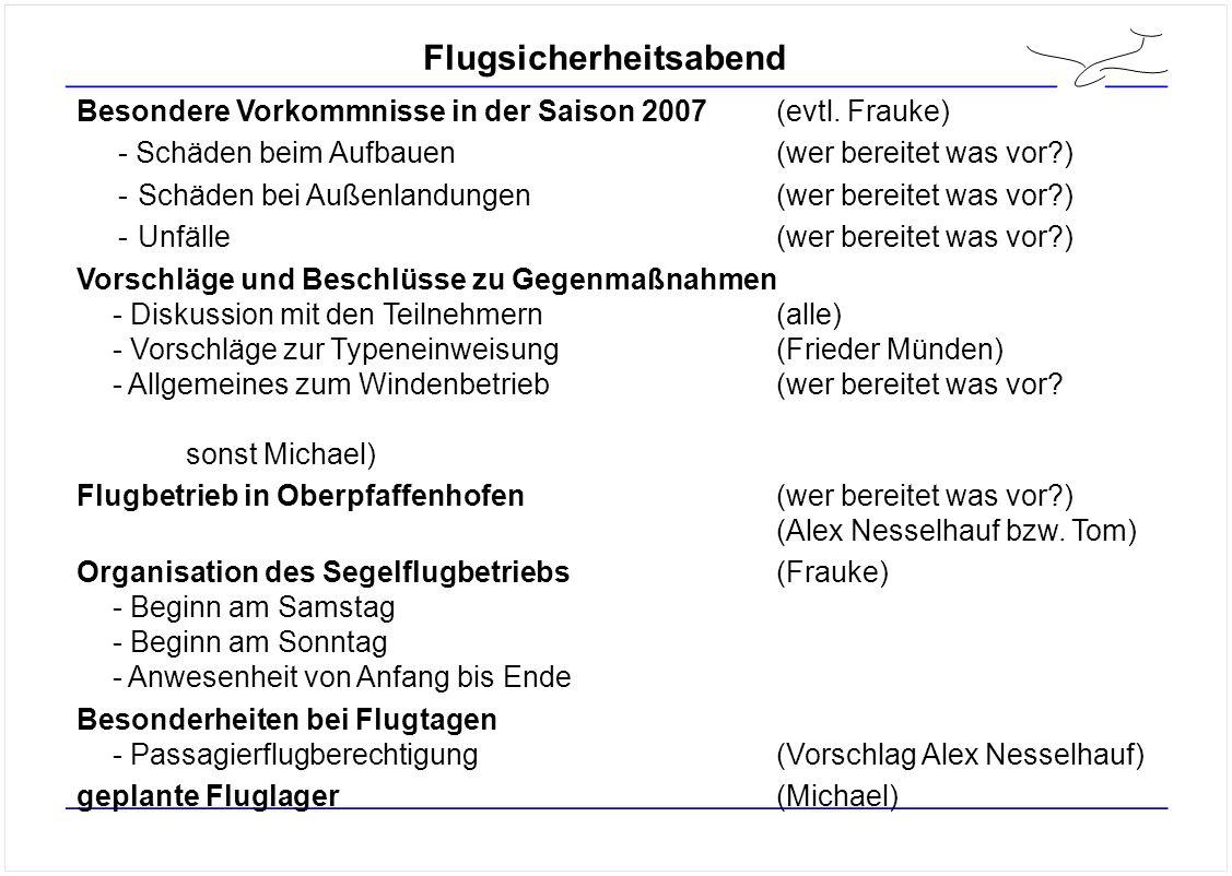 Flugsicherheitsabend Besondere Vorkommnisse in der Saison 2007(evtl.