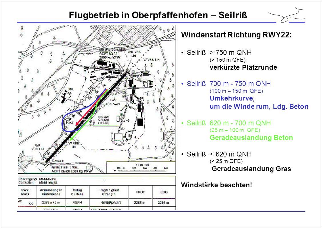 Flugbetrieb in Oberpfaffenhofen – Seilriß Windenstart Richtung RWY22: Seilriß> 750 m QNH (> 150 m QFE) verkürzte Platzrunde Seilriß700 m - 750 m QNH (100 m – 150 m QFE) Umkehrkurve, um die Winde rum, Ldg.