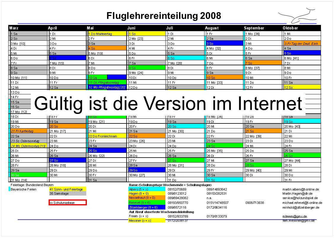 Fluglehrereinteilung 2008 Gültig ist die Version im Internet
