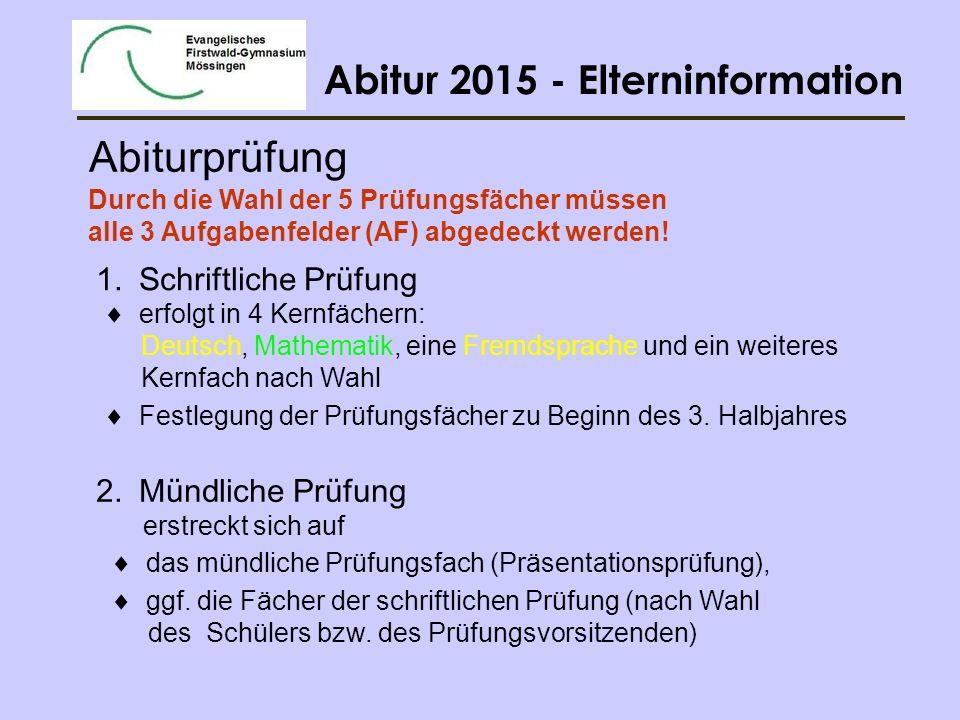 Abitur 2015 - Elterninformation 2.1 Mündliches Prüfungsfach Festlegung zu Beginn des 4.