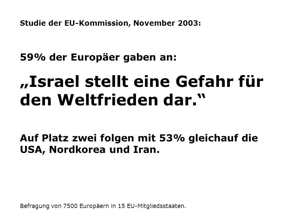Studie der EU-Kommission, November 2003: 59% der Europäer gaben an: Israel stellt eine Gefahr für den Weltfrieden dar. Auf Platz zwei folgen mit 53% g