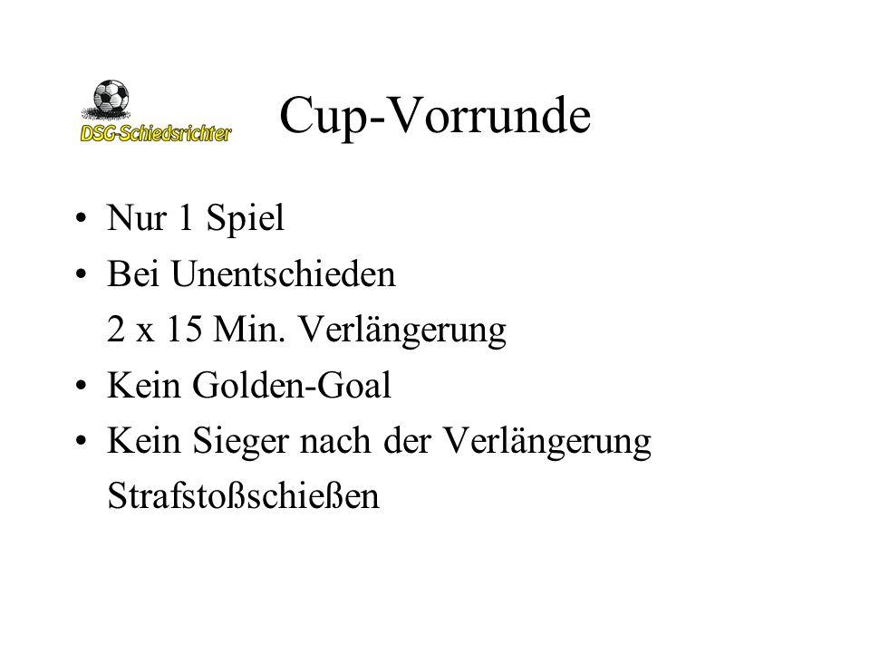 Cup-Vorrunde Nur 1 Spiel Bei Unentschieden 2 x 15 Min. Verlängerung Kein Golden-Goal Kein Sieger nach der Verlängerung Strafstoßschießen