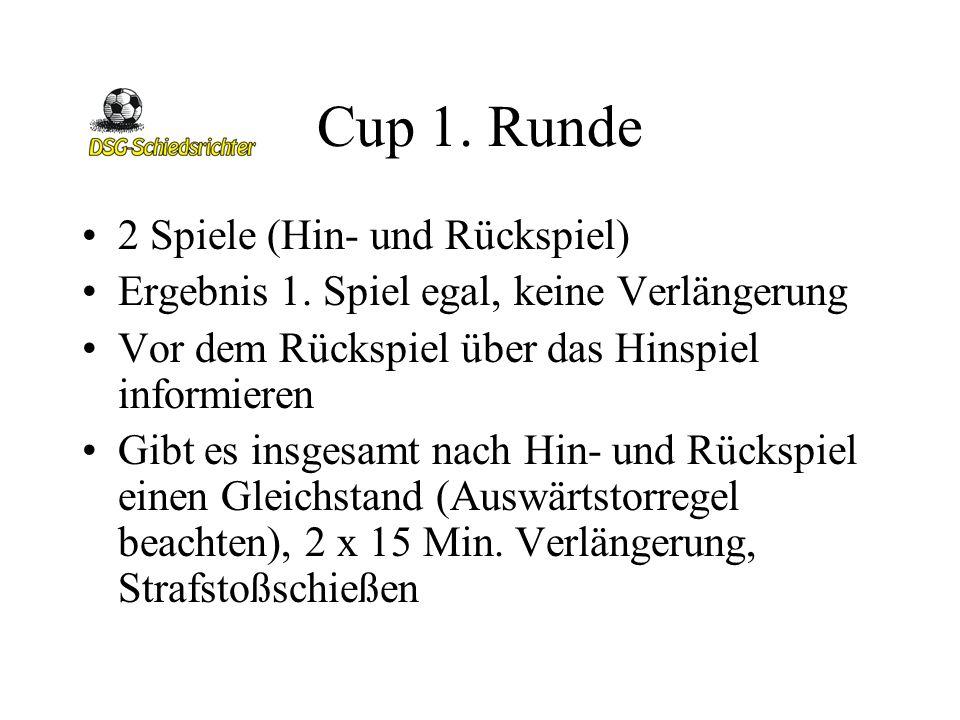 Cup 1. Runde 2 Spiele (Hin- und Rückspiel) Ergebnis 1. Spiel egal, keine Verlängerung Vor dem Rückspiel über das Hinspiel informieren Gibt es insgesam