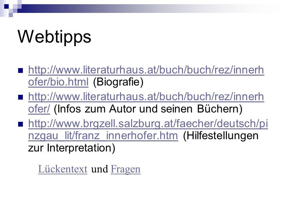 Webtipps http://www.literaturhaus.at/buch/buch/rez/innerh ofer/bio.html (Biografie) http://www.literaturhaus.at/buch/buch/rez/innerh ofer/bio.html htt