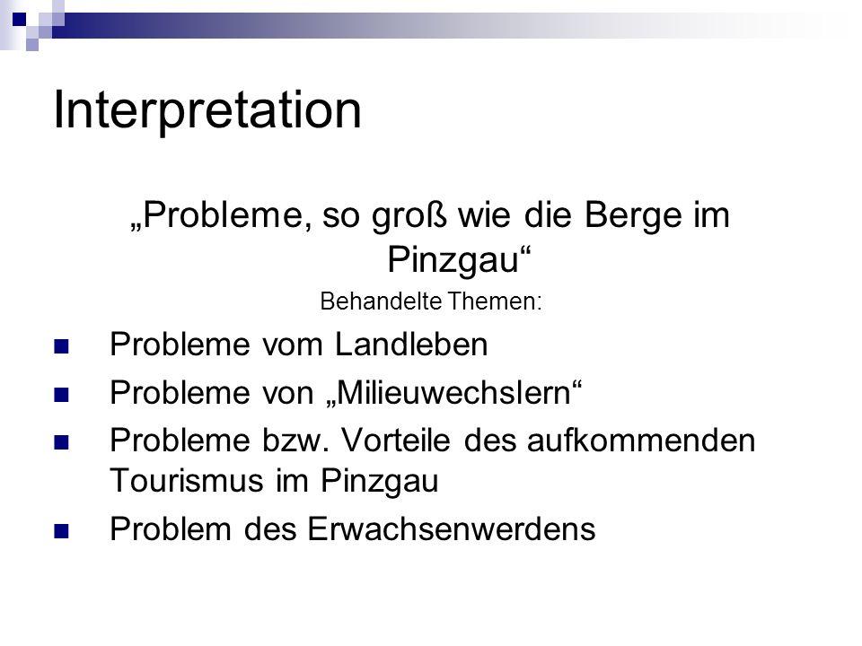 Interpretation Probleme, so groß wie die Berge im Pinzgau Behandelte Themen: Probleme vom Landleben Probleme von Milieuwechslern Probleme bzw. Vorteil