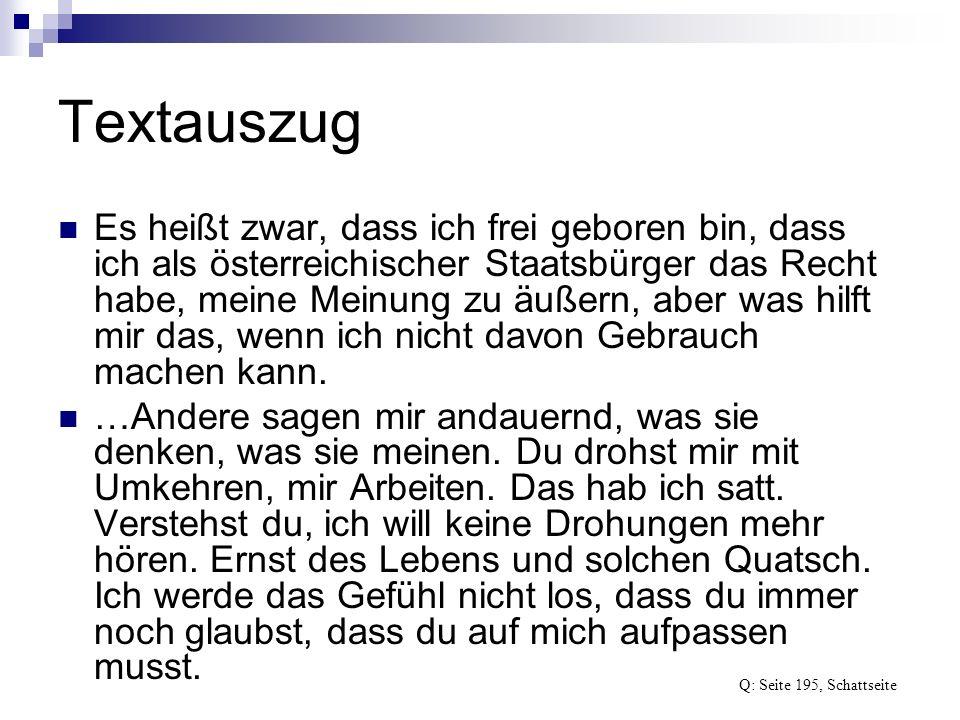 Textauszug Es heißt zwar, dass ich frei geboren bin, dass ich als österreichischer Staatsbürger das Recht habe, meine Meinung zu äußern, aber was hilf