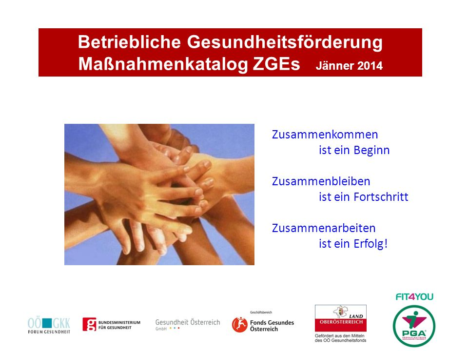 Betriebliche Gesundheitsförderung Maßnahmenkatalog ZGEs Jänner 2014 Zusammenkommen ist ein Beginn Zusammenbleiben ist ein Fortschritt Zusammenarbeiten