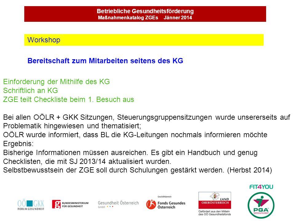 Betriebliche Gesundheitsförderung Maßnahmenkatalog ZGEs Jänner 2014 Bereitschaft zum Mitarbeiten seitens des KG Workshop Einforderung der Mithilfe des