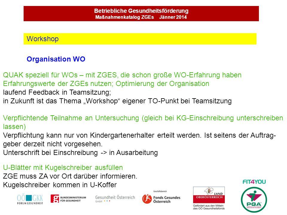 Betriebliche Gesundheitsförderung Maßnahmenkatalog ZGEs Jänner 2014 Organisation WO Workshop QUAK speziell für WOs – mit ZGES, die schon große WO-Erfa