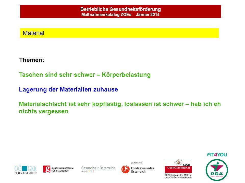 Betriebliche Gesundheitsförderung Maßnahmenkatalog ZGEs Jänner 2014 Themen: Taschen sind sehr schwer – Körperbelastung Lagerung der Materialien zuhaus