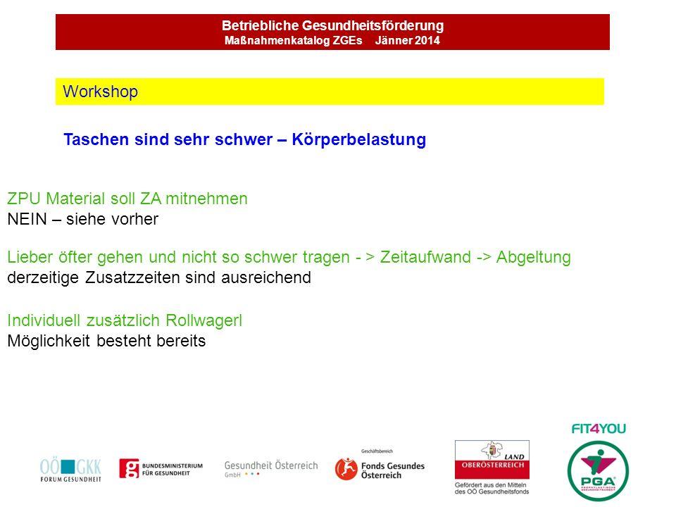 Betriebliche Gesundheitsförderung Maßnahmenkatalog ZGEs Jänner 2014 Taschen sind sehr schwer – Körperbelastung Workshop Lieber öfter gehen und nicht s