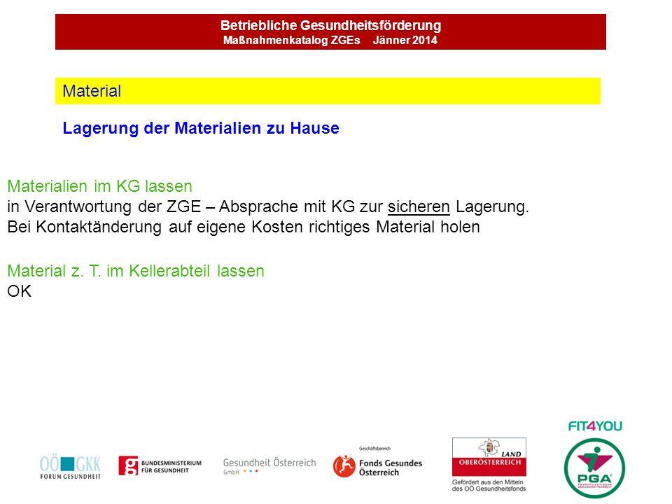 Betriebliche Gesundheitsförderung Maßnahmenkatalog ZGEs Jänner 2014 Lagerung der Materialien zu Hause Material Materialien im KG lassen in Verantwortu