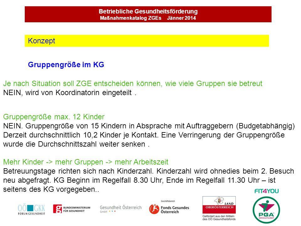 Betriebliche Gesundheitsförderung Maßnahmenkatalog ZGEs Jänner 2014 Gruppengröße im KG Konzept Je nach Situation soll ZGE entscheiden können, wie viel