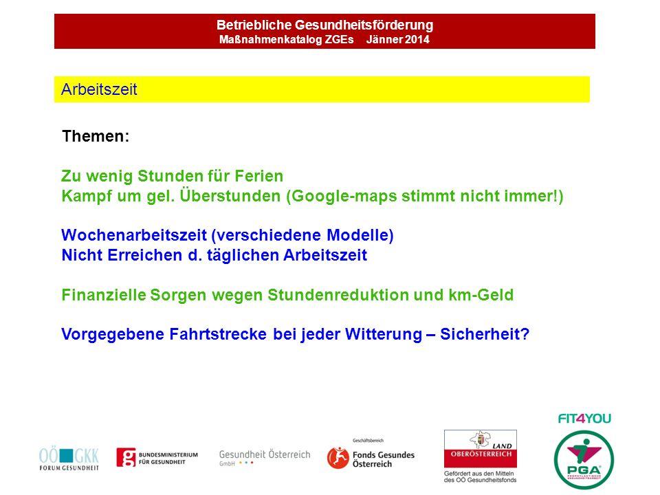 Betriebliche Gesundheitsförderung Maßnahmenkatalog ZGEs Jänner 2014 Themen: Zu wenig Stunden für Ferien Kampf um gel. Überstunden (Google-maps stimmt