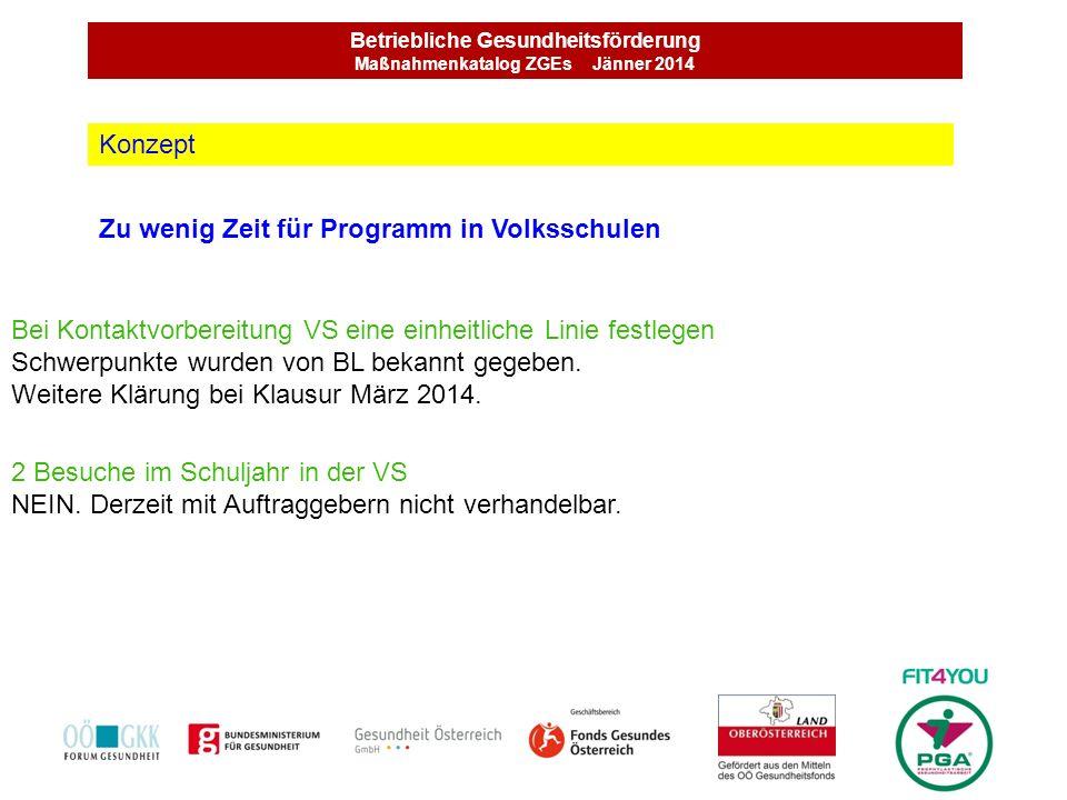 Betriebliche Gesundheitsförderung Maßnahmenkatalog ZGEs Jänner 2014 Zu wenig Zeit für Programm in Volksschulen Konzept Bei Kontaktvorbereitung VS eine