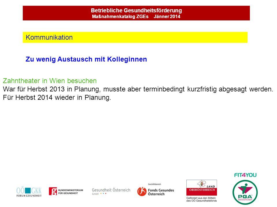 Betriebliche Gesundheitsförderung Maßnahmenkatalog ZGEs Jänner 2014 Zu wenig Austausch mit Kolleginnen Kommunikation Zahntheater in Wien besuchen War