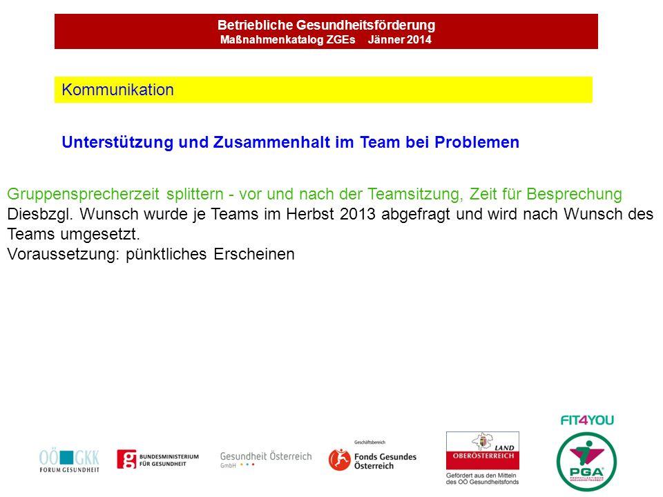 Betriebliche Gesundheitsförderung Maßnahmenkatalog ZGEs Jänner 2014 Unterstützung und Zusammenhalt im Team bei Problemen Kommunikation Gruppensprecher