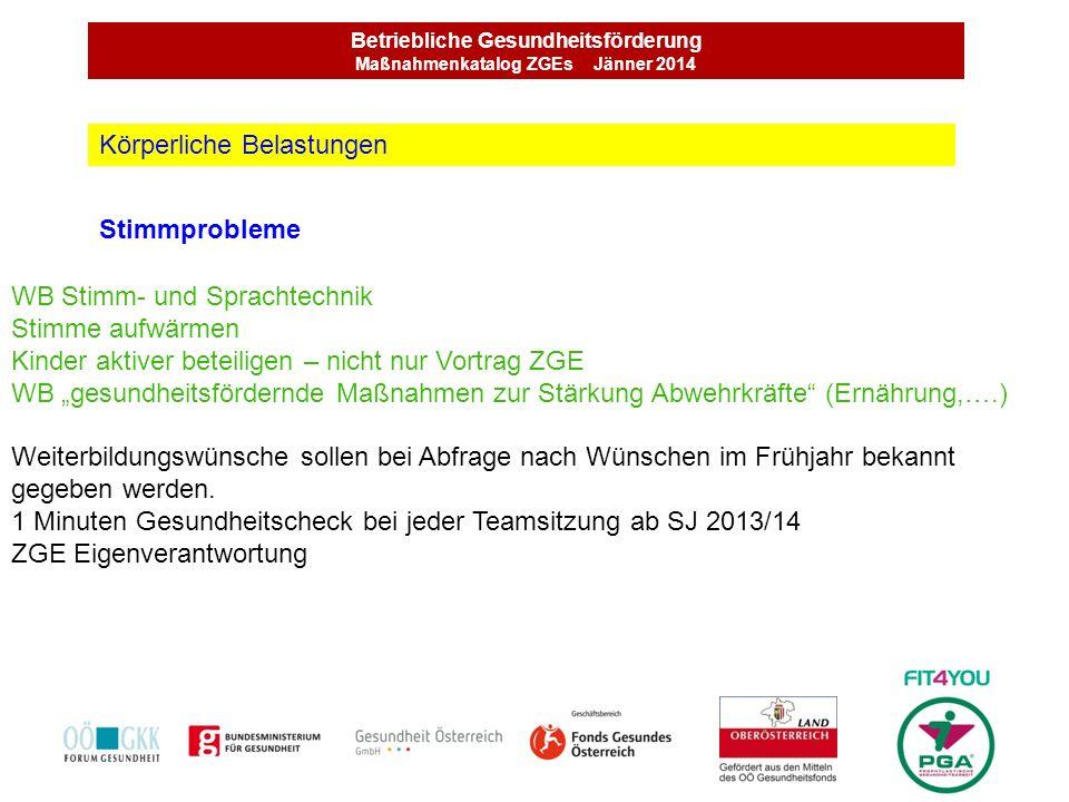 Betriebliche Gesundheitsförderung Maßnahmenkatalog ZGEs Jänner 2014 Stimmprobleme Körperliche Belastungen WB Stimm- und Sprachtechnik Stimme aufwärmen