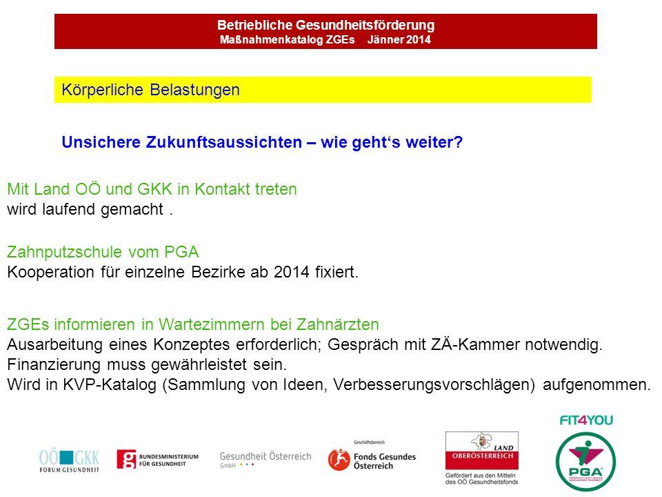 Betriebliche Gesundheitsförderung Maßnahmenkatalog ZGEs Jänner 2014 Unsichere Zukunftsaussichten – wie gehts weiter? Körperliche Belastungen Mit Land