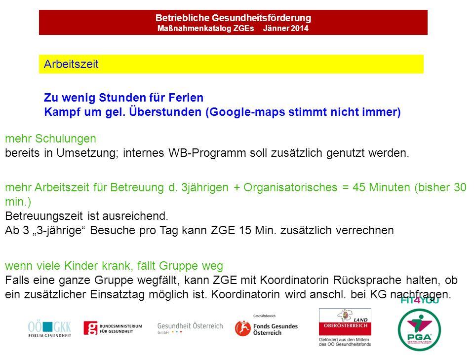 Betriebliche Gesundheitsförderung Maßnahmenkatalog ZGEs Jänner 2014 Wochenarbeitszeit (verschiedene Modelle) Nicht Erreichen d.