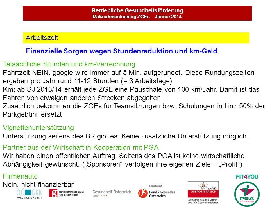 Betriebliche Gesundheitsförderung Maßnahmenkatalog ZGEs Jänner 2014 Finanzielle Sorgen wegen Stundenreduktion und km-Geld Arbeitszeit Tatsächliche Stu