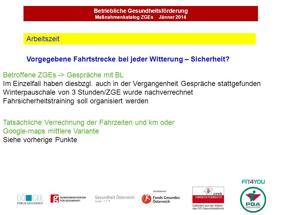 Betriebliche Gesundheitsförderung Maßnahmenkatalog ZGEs Jänner 2014 Zu wenig Zeit für Programm in Volksschulen Konzept Bei Kontaktvorbereitung VS eine einheitliche Linie festlegen Schwerpunkte wurden von BL bekannt gegeben.