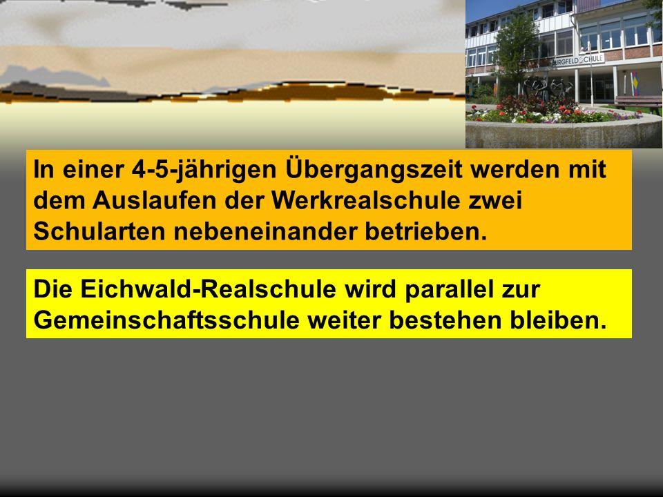 In einer 4-5-jährigen Übergangszeit werden mit dem Auslaufen der Werkrealschule zwei Schularten nebeneinander betrieben. Die Eichwald-Realschule wird