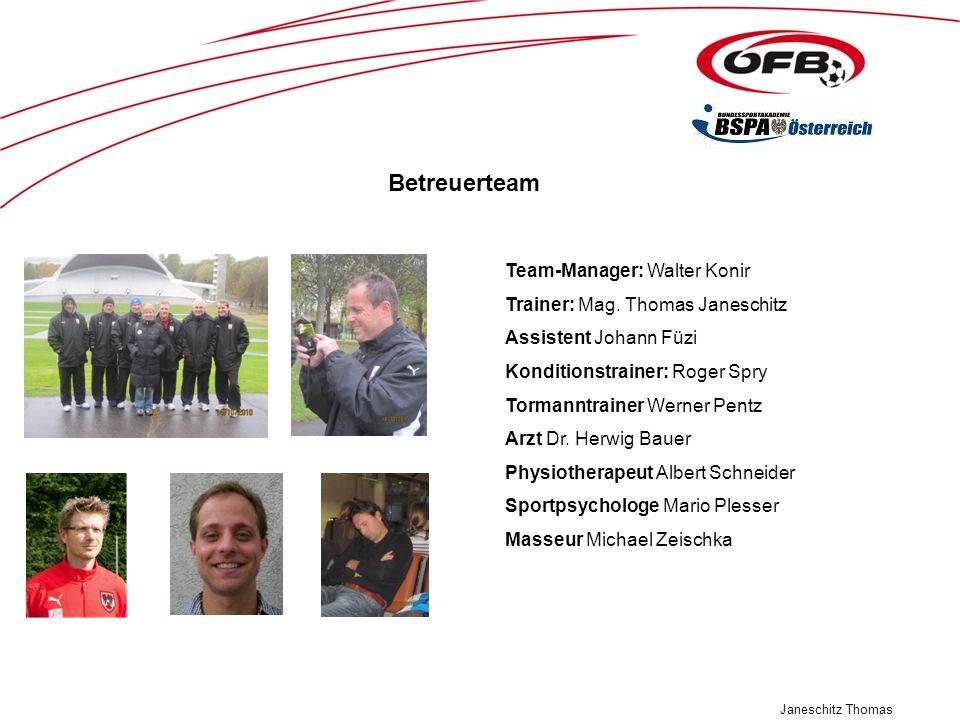 Janeschitz Thomas Team-Manager: Walter Konir Trainer: Mag. Thomas Janeschitz Assistent Johann Füzi Konditionstrainer: Roger Spry Tormanntrainer Werner