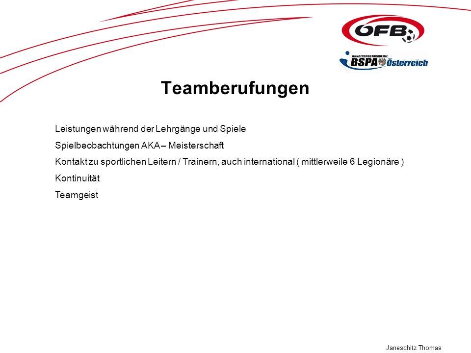 Janeschitz Thomas Teamberufungen Leistungen während der Lehrgänge und Spiele Spielbeobachtungen AKA – Meisterschaft Kontakt zu sportlichen Leitern / T
