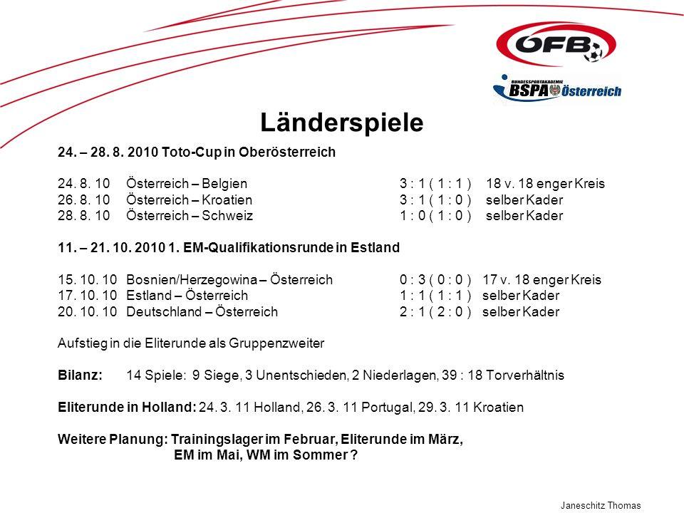 Janeschitz Thomas Länderspiele 24. – 28. 8. 2010 Toto-Cup in Oberösterreich 24. 8. 10Österreich – Belgien3 : 1 ( 1 : 1 ) 18 v. 18 enger Kreis 26. 8. 1