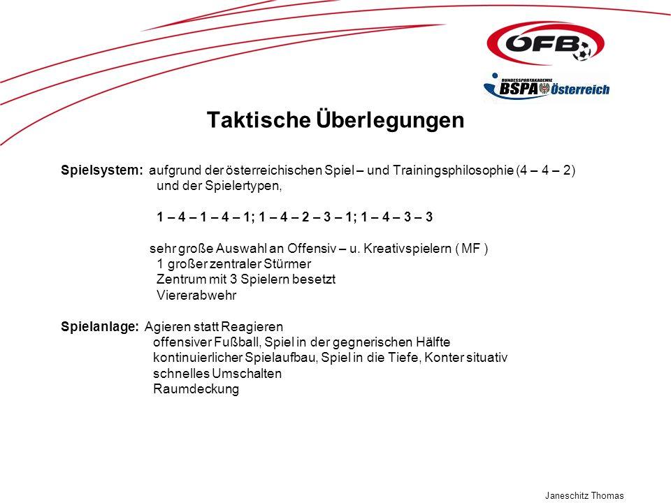 Janeschitz Thomas Taktische Überlegungen Spielsystem: aufgrund der österreichischen Spiel – und Trainingsphilosophie (4 – 4 – 2) und der Spielertypen,
