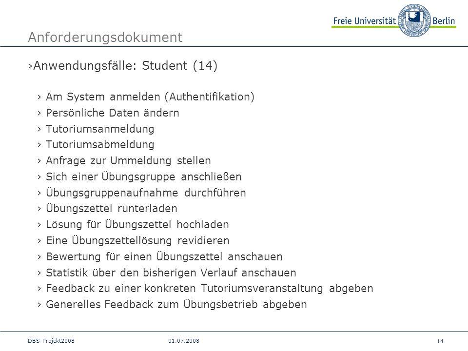 14 DBS-Projekt200801.07.2008 Anforderungsdokument Anwendungsfälle: Student (14) Am System anmelden (Authentifikation) Persönliche Daten ändern Tutoriu